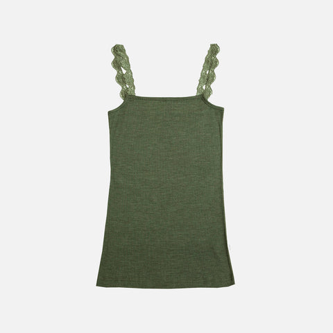Women's Wool/Silk Chemise With Lace - Jade