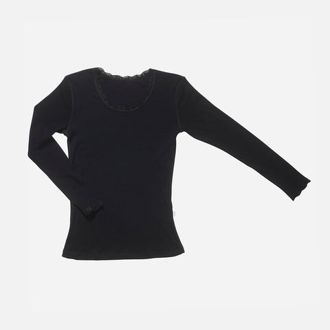 Women's Merino Wool LS Top With Lace - Black