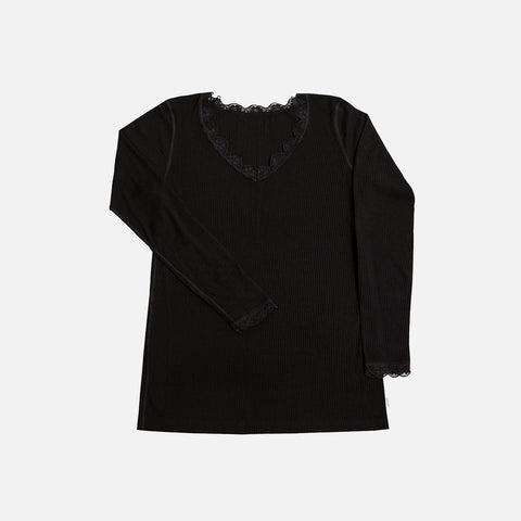 Women's Wool/Silk Rib LS Lace Top - Black