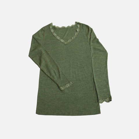 Women's Wool/Silk Rib LS Lace Top - Jade