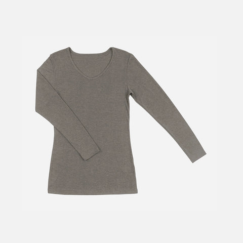 Women's Wool/Silk LS Top - Sesame