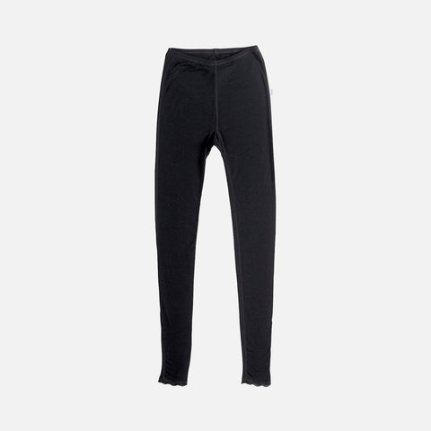 Women's Merino Wool Leggings With Lace - Black