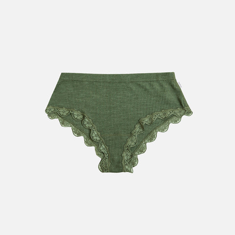 Women's Wool/Silk Rib Lace Hipsters - Jade