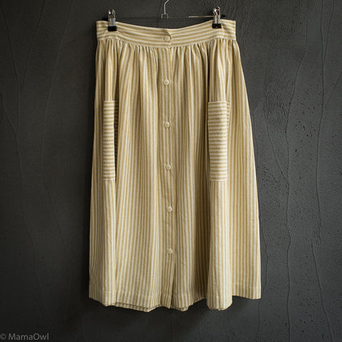 Women's Cotton Zoe Skirt - Yellow stripe
