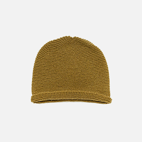 Wool Hand Knit Garter Stitch Beanie Hat - Golden