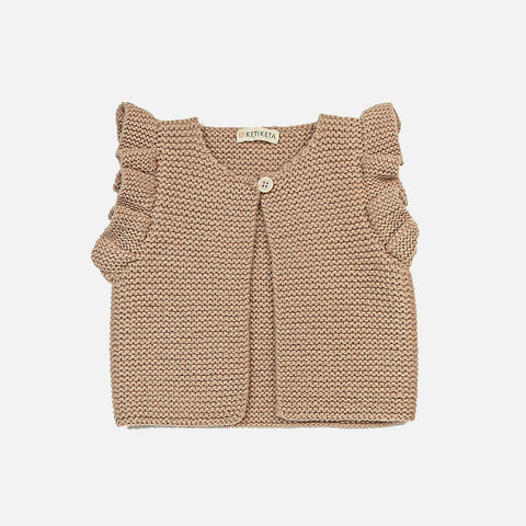 Wool Hand Knit Mia Vest - Dusty Rose