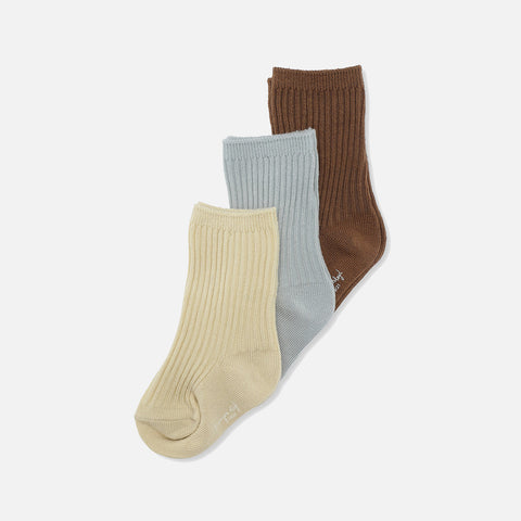 Organic Cotton Rib Socks - Breen/Mint/Sahara Sun - 3 Pack