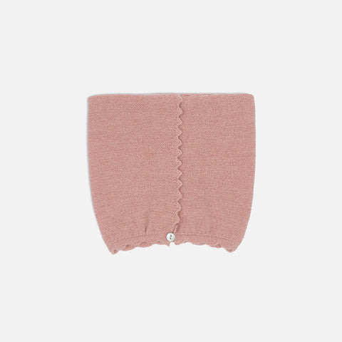 Merino Wool Knitted Cat Bonnet - Rose Blush