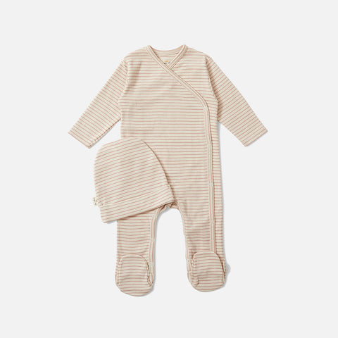 Organic Cotton Dio Newborn Romper & Hat - Rose Blush