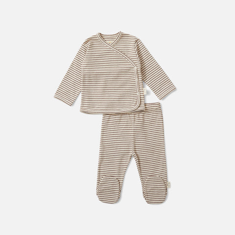 Organic Cotton Newborn Dio Top & Trousers - Mocca/Beige