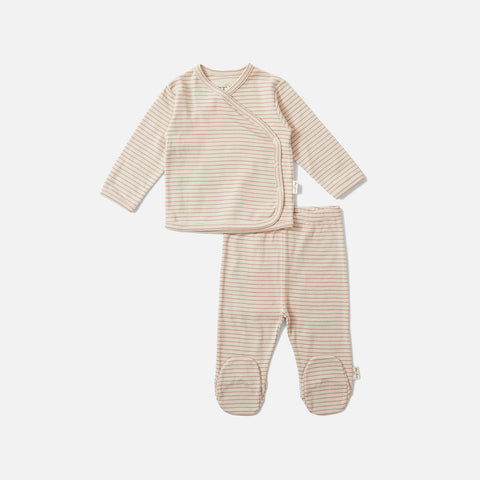 Organic Cotton Newborn Dio Top & Trousers - Rose Blush
