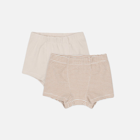 Organic Cotton Saya Two Pack Boxers - Faded Brown/Beige