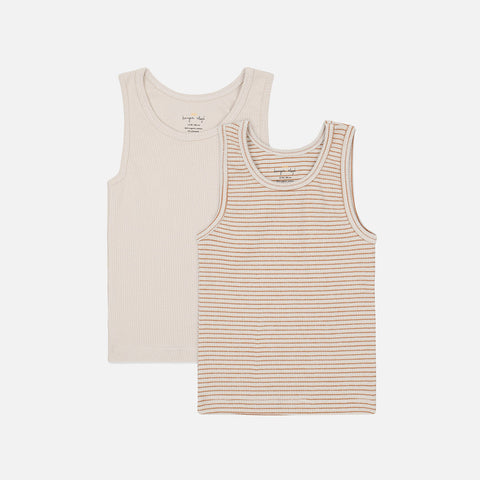 Organic Cotton Saya Two Pack Tank Top - Faded Brown/Beige