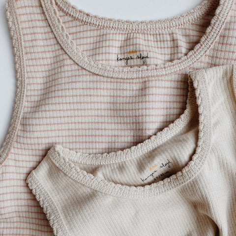Organic Cotton Saya Two Pack Tank Top - Rose Blush/Beige