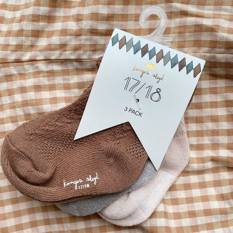 Organic Cotton Pointelle Socks - Almond/Paloma Grey/Creme - 3 Pack