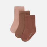 Organic Cotton Pointelle Socks - Mocca/Rose Blush/Choco Bean - 3 Pack