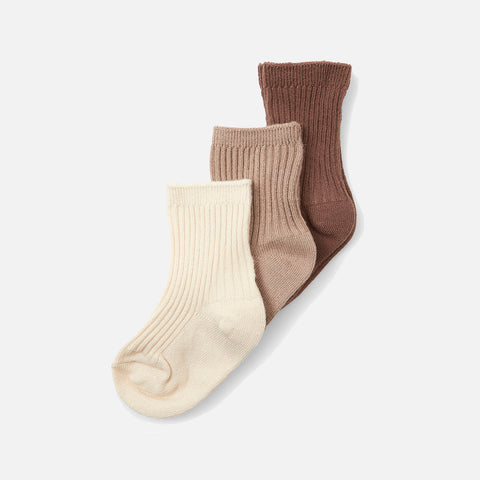 Organic Cotton Rib Socks - Mocca/Hazel/Creme - 3 Pack