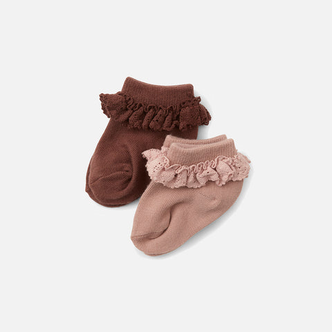 Organic Cotton Frill Socks - Mocca/Rose Blush- 2 Pack