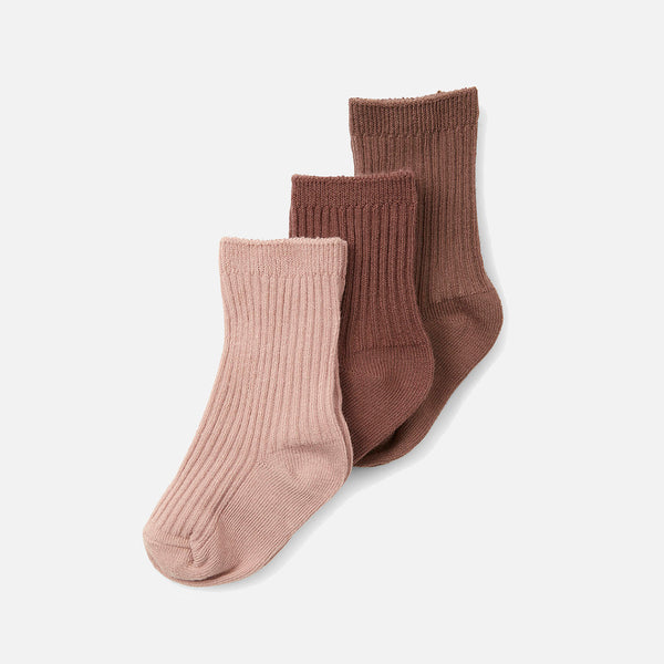 Organic Cotton Rib Socks - Mocca/Rose Blush/Choco Bean - 3 Pack