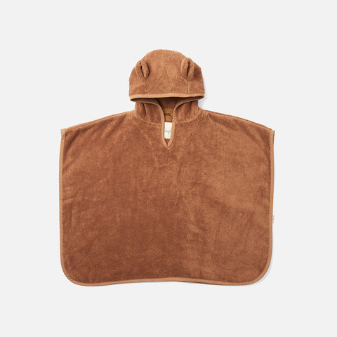 Organic Cotton Terry Kid's Poncho - Almond
