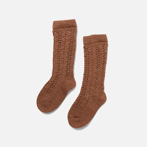 Organic Wool Pointelle Socks - Almond