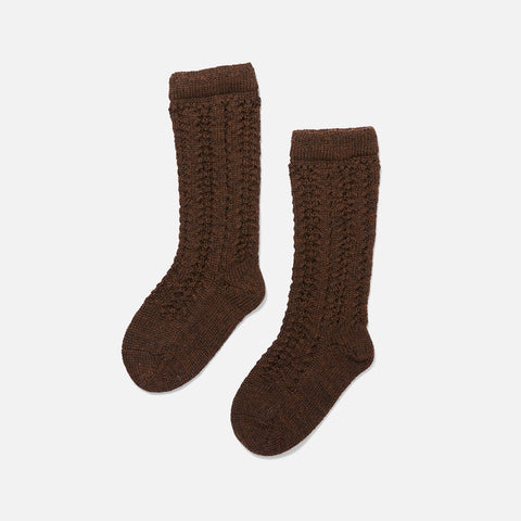 Organic Wool Pointelle Socks - Cocao Brown