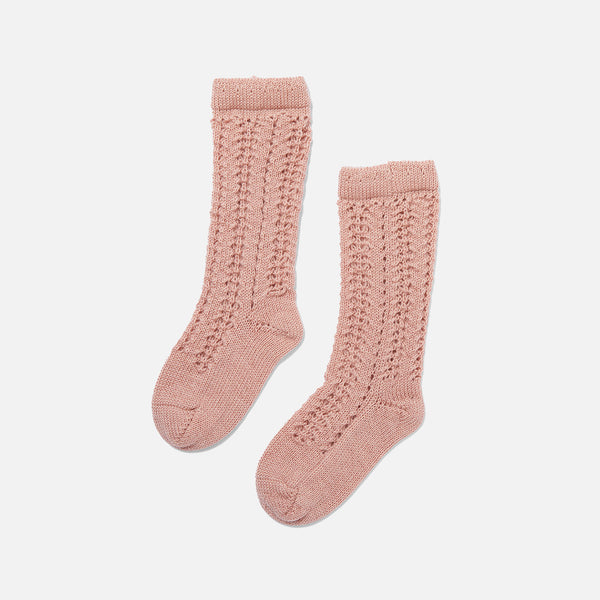 Organic Wool Pointelle Socks - Rose Blush
