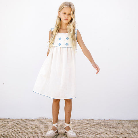 Organic Cotton Folk Apron Dress - Milk