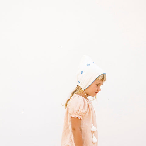 Organic Cotton Folk Bonnet - Milk