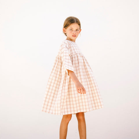 Organic Cotton Liilu Dress - Rustic Check