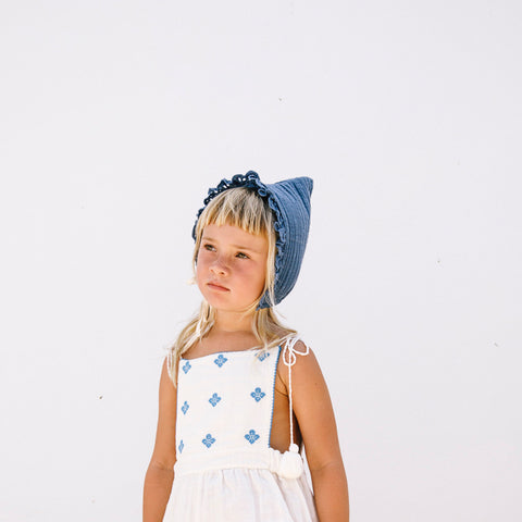 Organic Cotton Pixie Bonnet - Ocean Blue