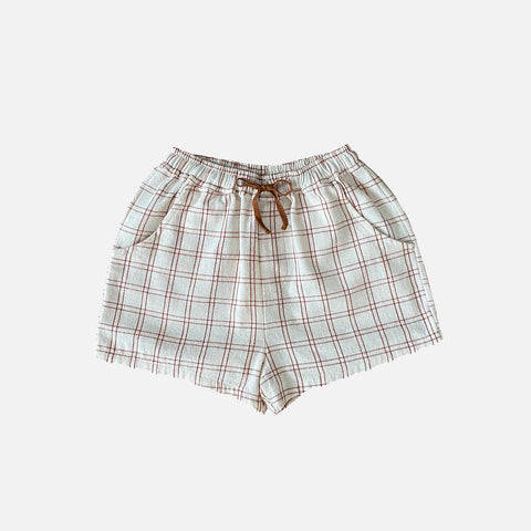 Organic Cotton Tudor Shorts - Rustic Check