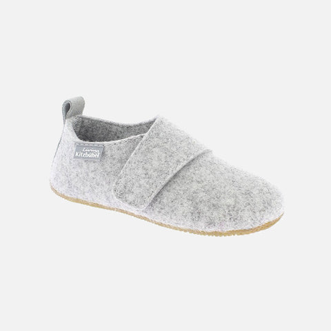 Adult Boiled Wool Velcro Slippers - Light Grey