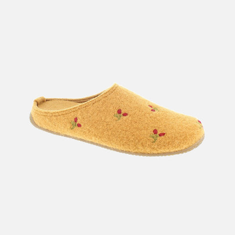 Adult Boiled Wool Slippers - Pumpkin With Flowers