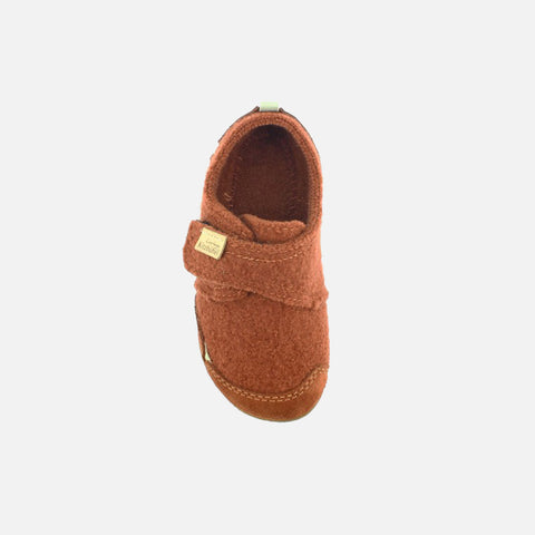 Velcro Wool Slipper - Brick