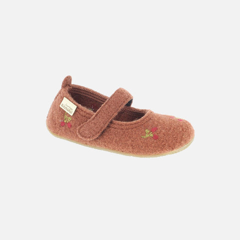 Wool Ballerina Slipper Shoe - Brick With Flowers