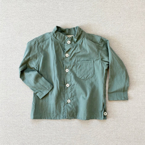 Cotton Voile Band Collar Shirt - Mint
