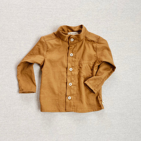 Cotton Voile Band Collar Shirt - Gold