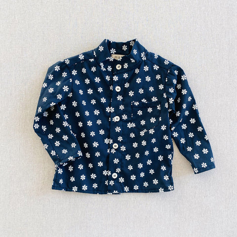 Cotton Voile Band Collar Shirt - Navy Saku Floral