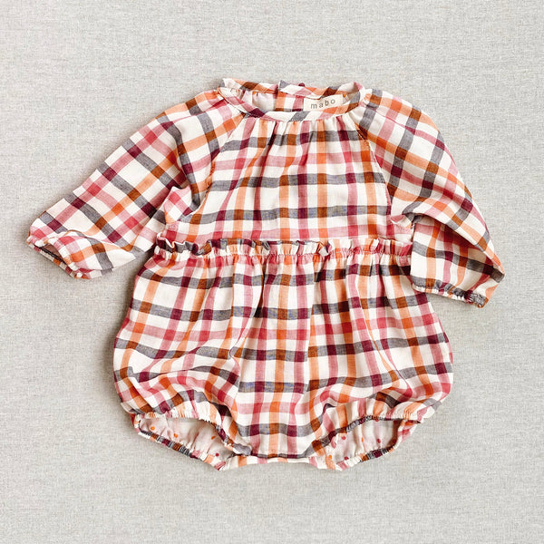 Cotton Georgie Romper - Mineral Earth Plaid