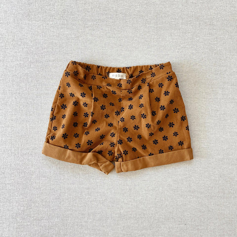 Cotton Voile Trouser Shorts - Gold Saku Floral