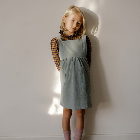 Organic Cotton Corduroy Annie Pinafore - Mint