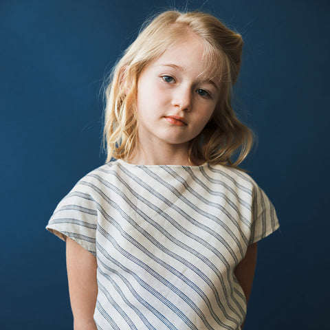 Linen Edith Blouse - Cream/Navy Mattress Stripe