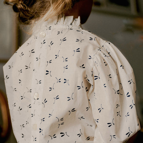 Cotton Voile Loulou Blouse - Cream Dragonfly