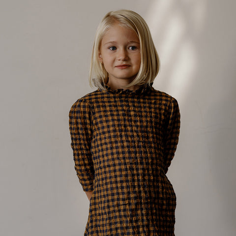 Cotton Loulou Dress - Gold/Navy Crumple Gingham