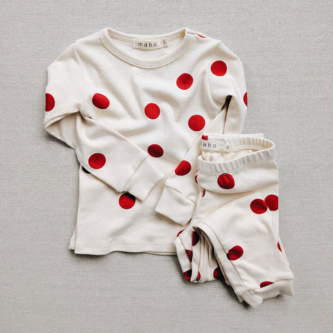 Organic Cotton Spotted Pyjamas - Red