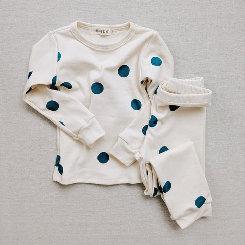 Organic Cotton Spotted Pyjamas - Teal