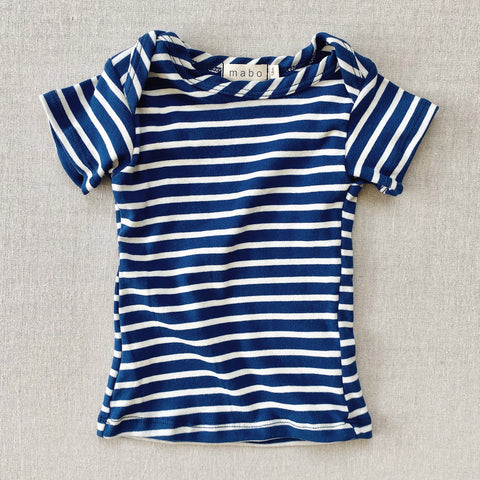 Organic Cotton SS Lap Tee - Blue/Natural Stripe