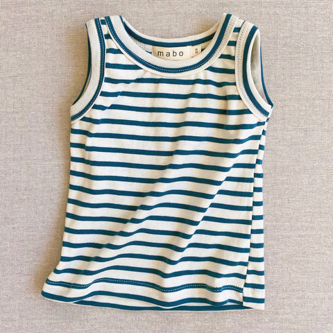 Organic Cotton Sleeveless Top - Azure Stripe