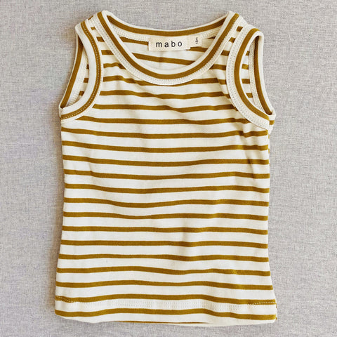 Organic Cotton Tank Top - Chartreuse Stripe